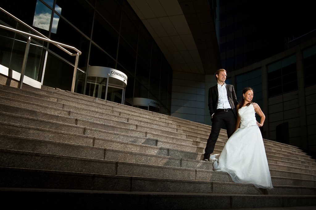 After Wedding Shooting vor der Commerzbank in Frankfurt am Main